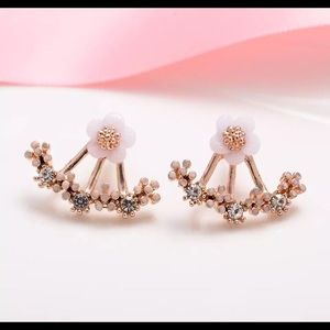 Rose gold floral behind the lobe earrings